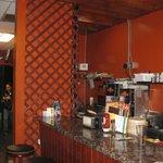 """""""Orb"""" on orange wall - Downtown Pub"""