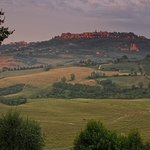 View of Montepulciano at dusk from Villa Mazzi