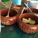 salsero clay caddy used to serve homemade salsas. this adds a great touch for authentic restaura