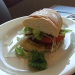 Hubby's 1/2 crabmeat po-boy that also included a cup of gumbo.