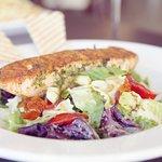 Pesto marinated salmon salad