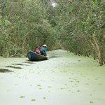 Sampan ride through a little canal