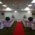 Wedding Ceremony lay out in the Abbey Suite