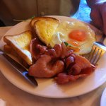 Eggs and (thickly sliced) bacon with GF toast