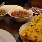 lamb dish & chicken dish with garlic bread
