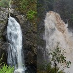 Falls of Foyers, before and after heavy rain.