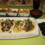 Street tacos lunch special with salsa sampler (in back)