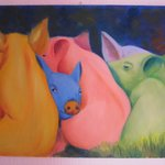 Colorful pigs