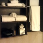 Room 357 Custom Made Wood Towel Rack and Shelf