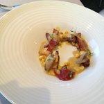 Chanterelles, duck hearts, goose breast & foie gras sauce