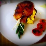 Prosciutto wrapped asparagus, enoki mushrooms, scrambled eggs, fried tomatoes :)