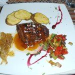 Beef Tenderloin with berry sauce (fresh from the Valley) with caramelized onions with fennel see