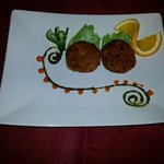 our special crabs cake with mint and mango chutney
