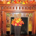 Dining Room Fireplace Fall Decorations