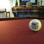 Pool Table in the Billiards Room - new cranberry cover