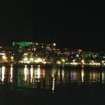 view from hotel beach at night