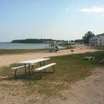 Lakeside beach with playground
