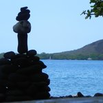 The Balance Stone ( Captain Cook Monument faraway )