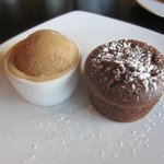 molten chocolate cake with coffee ice cream