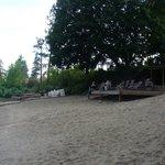 The peaceful, clean beach and sundeck
