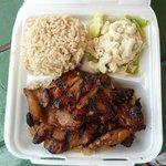 Teriyaki chicken w/ rice, mac salad & noodles