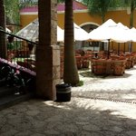 Outdoor seating in courtyard