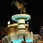 Alexander The Great statue in night
