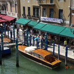View of Restaurant (Green awning) from top of Rialto Bridge