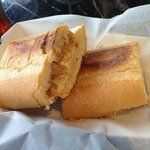 Peanut butter and marshmallow fluff and mango jam on a pressed Cuban — at Bradentown Scoop