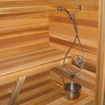 Relax in our 6 person cedar-lined steam sauna!