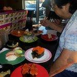 My mom enjoying her meal.