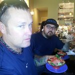 My husband and son having fresh poke.