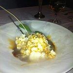 Ice cream made tableside using liquid nitrogen