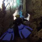 Swimming in underground cave