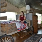 Me on the chuck wagon bed which was so comfortable.