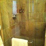 Glassed-in shower.