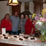 a group pic and Amazing spiced mole cake Yummie!