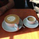 A double espresso and a delicious cappuccino