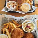 Two orders of the fish and chips (halibut)