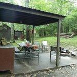 overdekt terras met uitzicht op bos en andere cabins