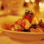 Pan Roasted Halibut, Tuscan Potatoes, Baby Clams, Saffron, Tomato Brodo