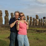 In front of the Moai at Ahu Tongariki