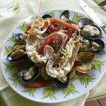 A nice seafood lunch plate.