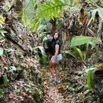 Hiking through the makutea coral-rock formations