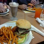 Yummy burger, seasoned fries, choc and peanut buttter shake