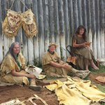 Trapper wives creating fine leatherwork and clothing