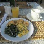 Jamaican breakfast: ackee and saltfish