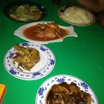 Our 1st round of order, veg, fish, 2 meat, rice wasn't enough for the 6 of us, so we double orde