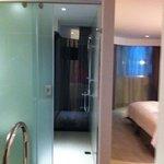 Spacious shower has a window!