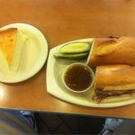 Brisket au Jus Hero and a slice of New York Cheesecake